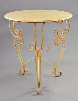 Round Cream Marble Top Iron Base Table #1