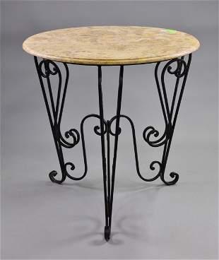 Round Cream Marble Top Iron Base Table #2