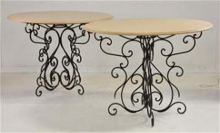 2 Large Round Marble Top Iron Base Tables
