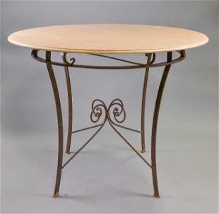 Large Round Iron Base Marble Top Table #2