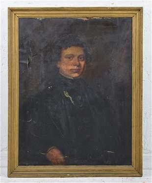 Gold Framed Oil On Canvas Portrait - Man
