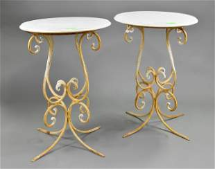 Pair White Marble Top Round Occasional Tables