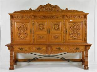 Large Spanish Colonial Style Carved Paw Foot Cupboard