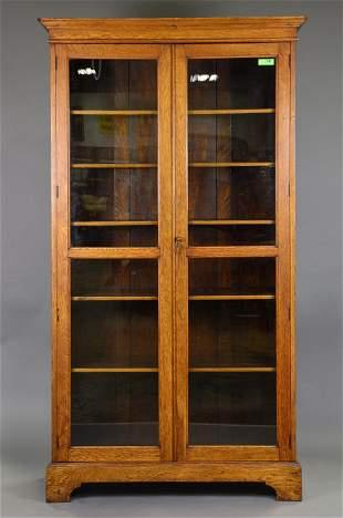 British Tall Oak Double Door Bookcase c.1900