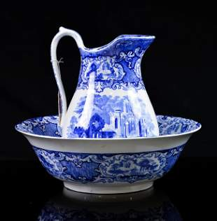 "George Jones ""Abbey Ruins"" Blue & White Bowl & Pitcher"