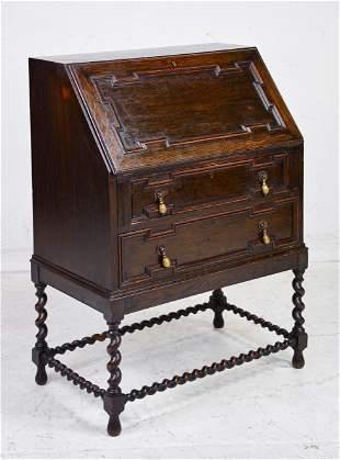 Jacobean Oak Barley Twist Drop Front Desk