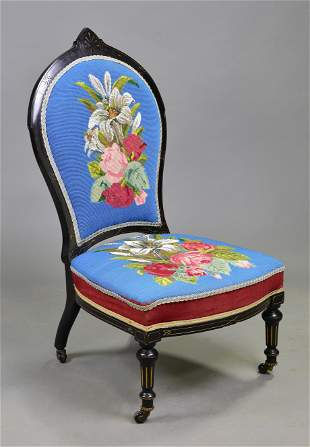 British Victorian Beaded Chair - Floral Motif