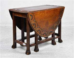 British Oak Drop Leaf Table with Carved Edge