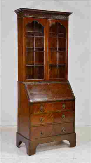 Carved British Drop Front Secretary Bookcase