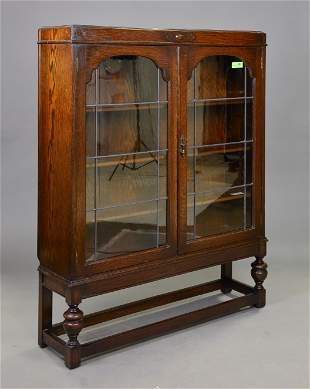 British Oak Double Door Bookcase / Cupboard