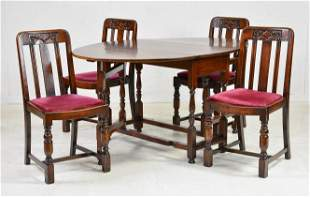 British Oak Drop Leaf Dining Table & 4 Chairs