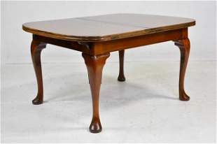 British Walnut Queen Anne Dining Table - 2 Leaves