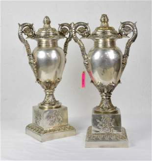 Pair Bronze Urns With Coined Silver Overlay