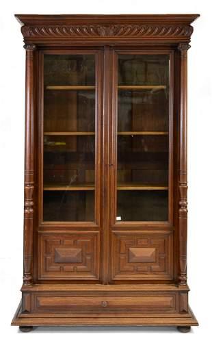 Large Henri II Style Double Door Bookcase / Cupboard
