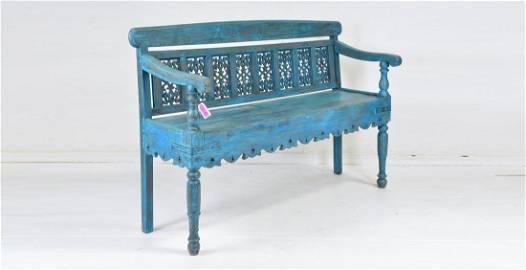 Large Carved Back Blue Arm Bench
