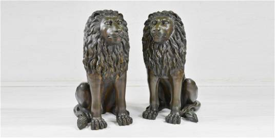 Pair Life Size Lion Bronzes