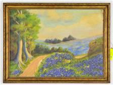Gold Gilt Framed Oil On Board - Blue Bonnet Landscape