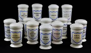 14 White Apothecary / Chemist Canisters With Lids
