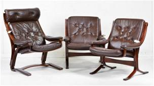 Trio of Mid Century Modern Bentwood Lounge Chairs