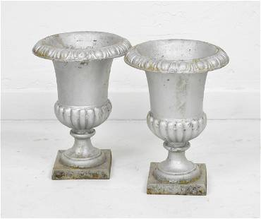 Pair Small Brushed Silver Iron Urn Planters