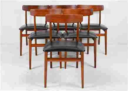6 Mid Century Modern Teak Chairs with Black Seats