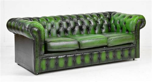 British Green Leather Chesterfield 3 Seater Sofa
