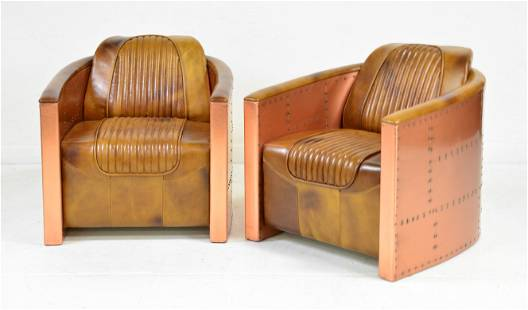 2 Aviator / Spitfire / Blackhawk Style Copper Chairs