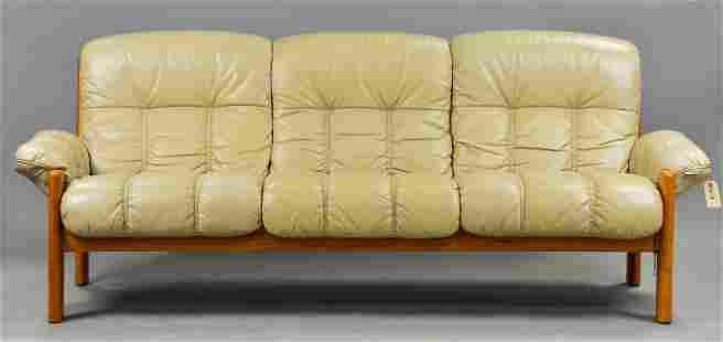 Ekornes Mid Century Modern Leather Sofa
