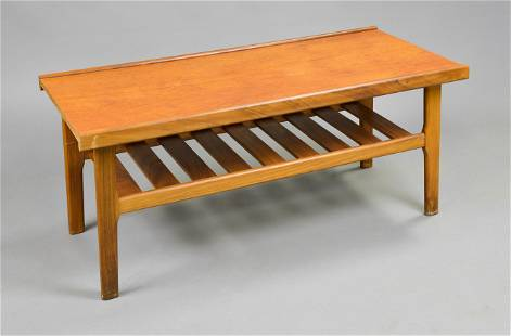 Mid Century Modern Teak Coffee Table With Slatted Base
