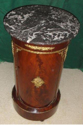 1: 19th C. Empire Style Brz. Mtd. Pedestal Cupboard