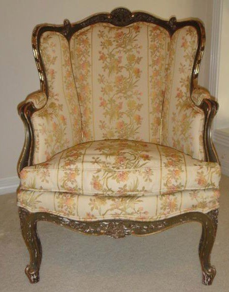 3: Good 19th C. LXV style carved gilt wood bergere