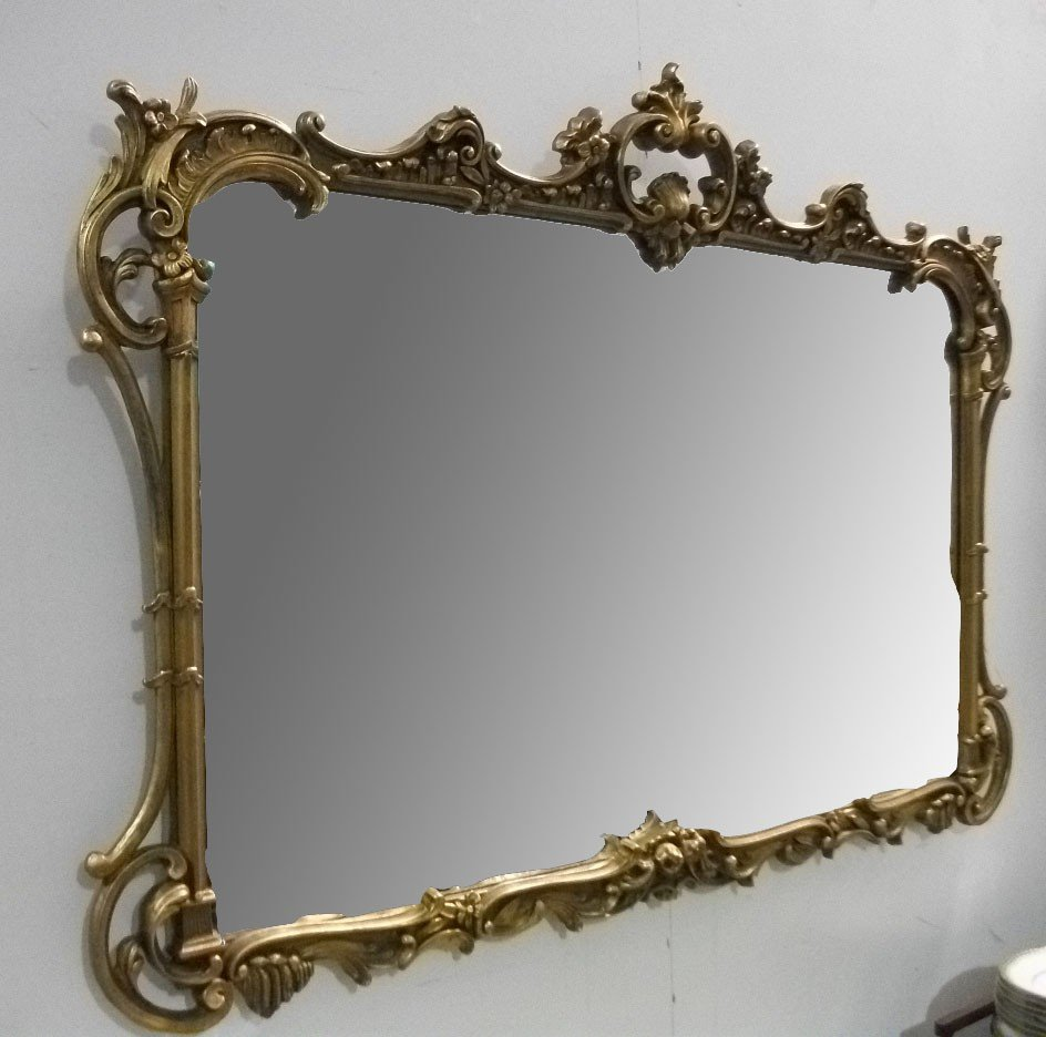 Carved L 19th C Giltwood Mirror