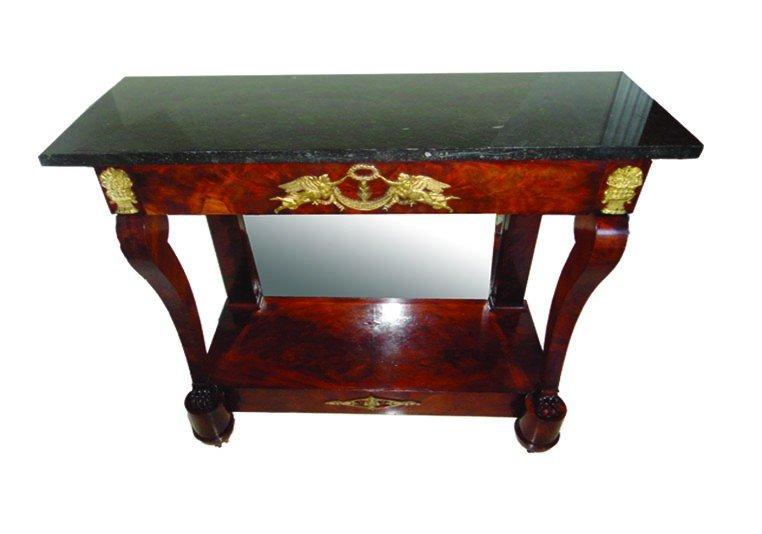 9: Fine 19th C. Empire Marble Top Console Table