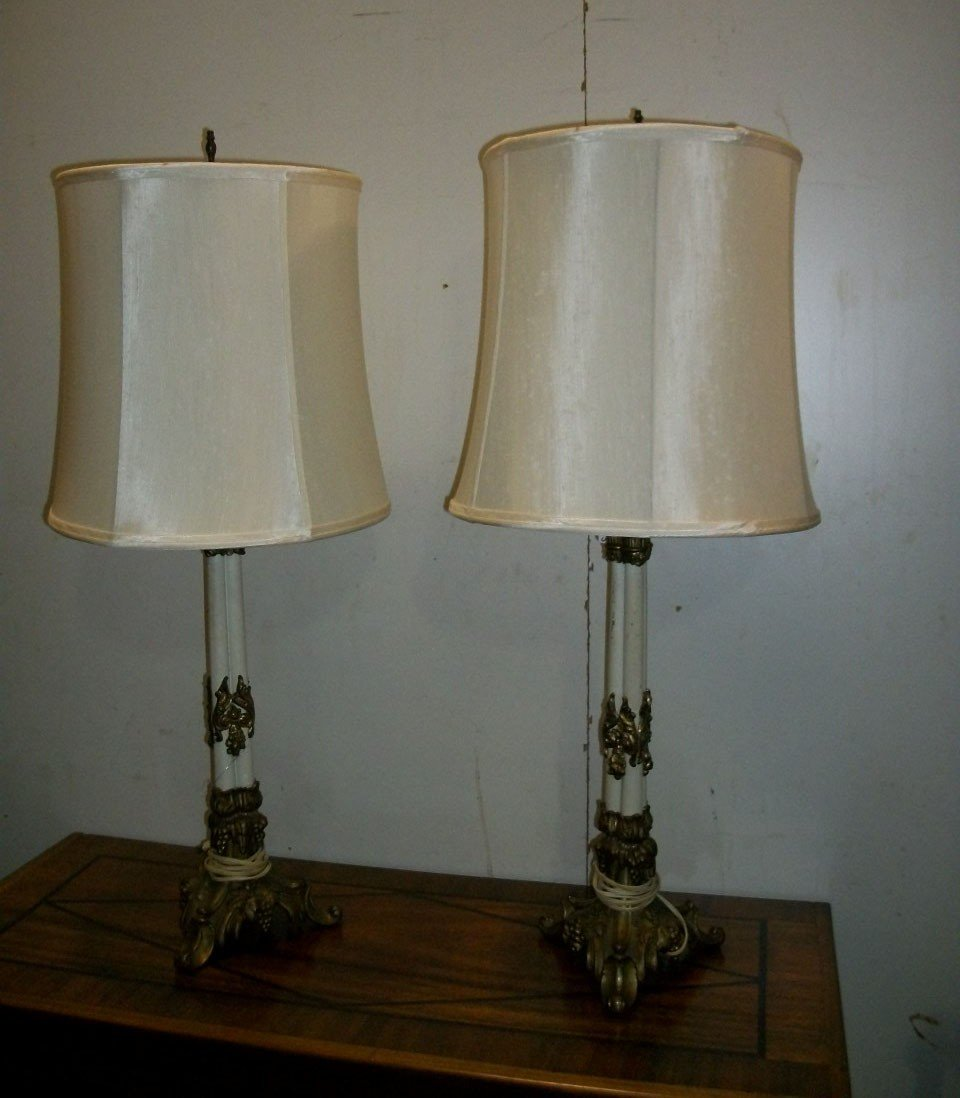 18: Pair Empire Style gilded Metal Lamps