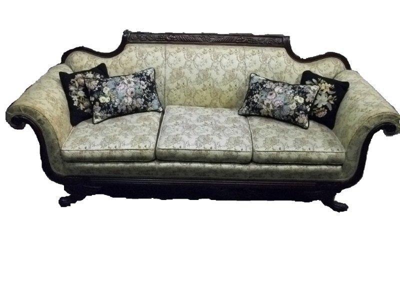 22: 19th C. American Empire Mahog. Uph. Sofa