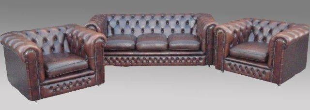 14: 3 pc. Chesterfield Leather Uph Suite