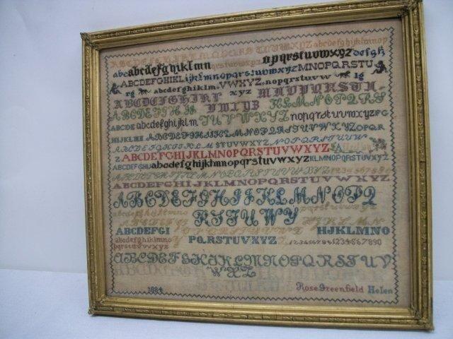 16: Fine British Alphabet Sampler Dated 1884