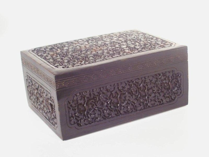 68: CHINESE FINELY CARVED TORTOISE SHELL BOX W/LID