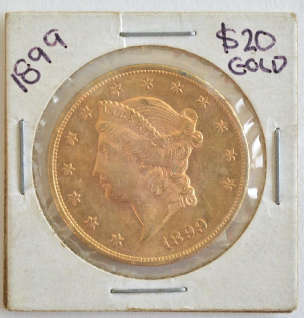 1899 $20 Liberty Double Eagle Gold Coin