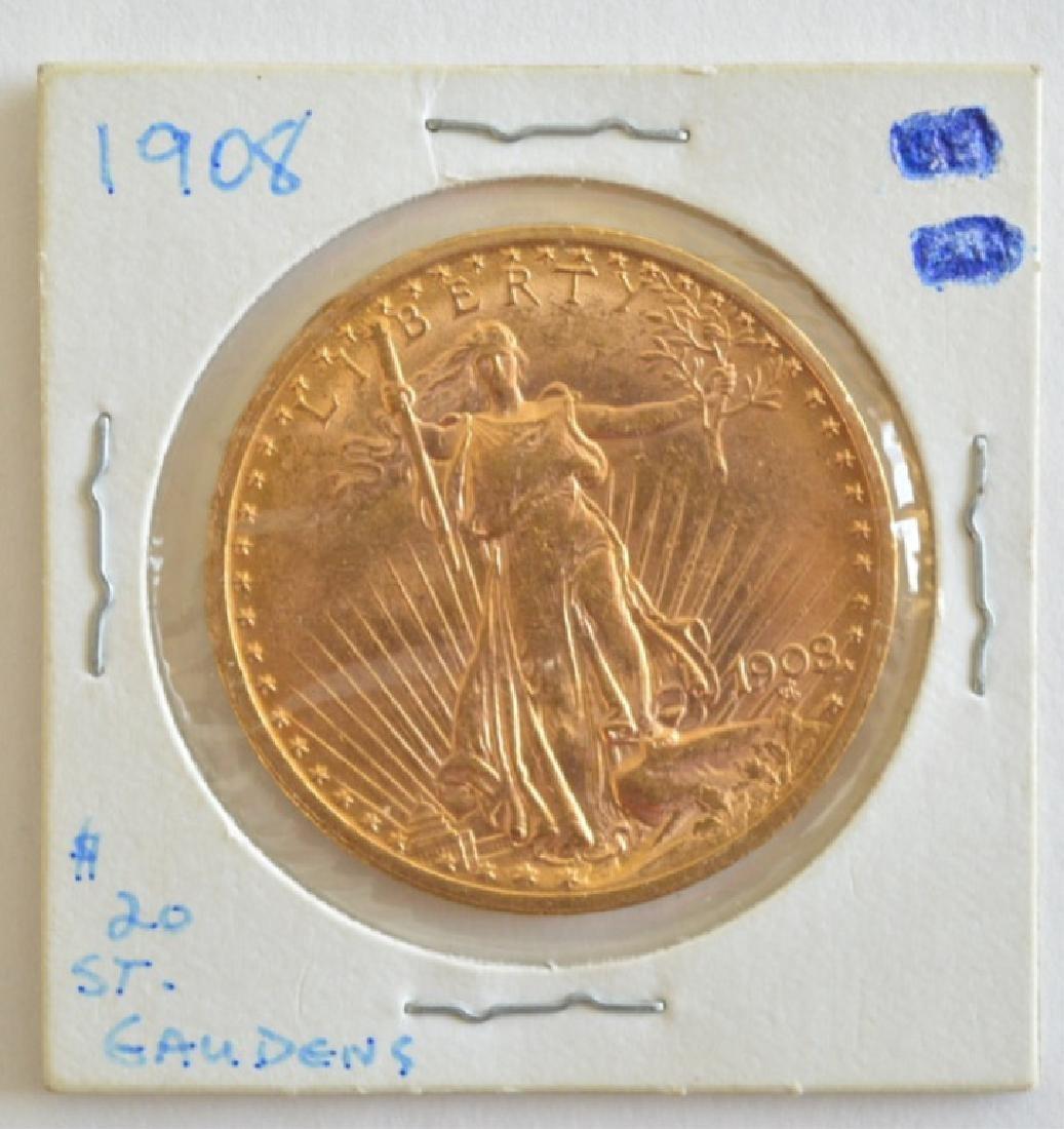 1908 $20 Saint-Gaudens Double Eagle Gold Coin