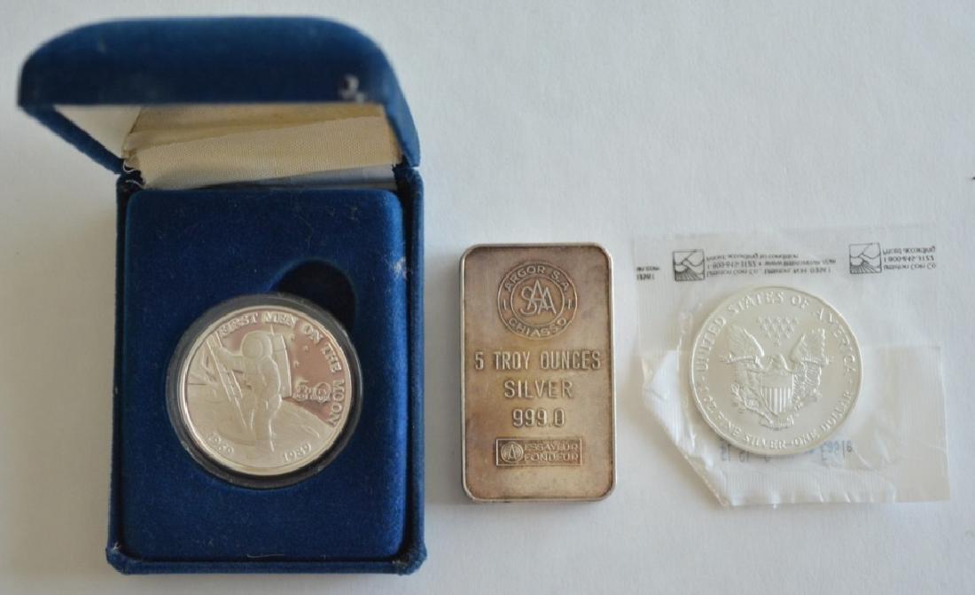 5 Ounce Silver Bar & Two 1 Ounce Silver Coins