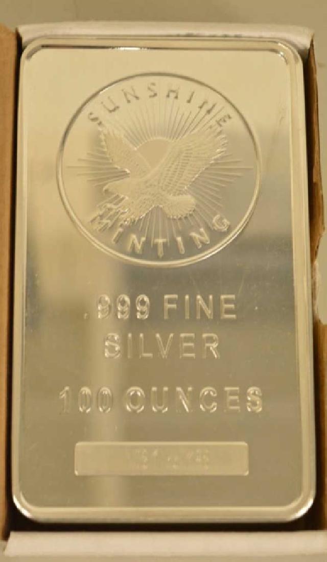 Sunshine Minting 100 Ounce .999 Silver Bar