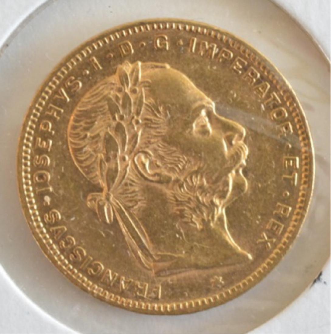 1877 Austrian 8 Florins/20 Franc Gold Coin