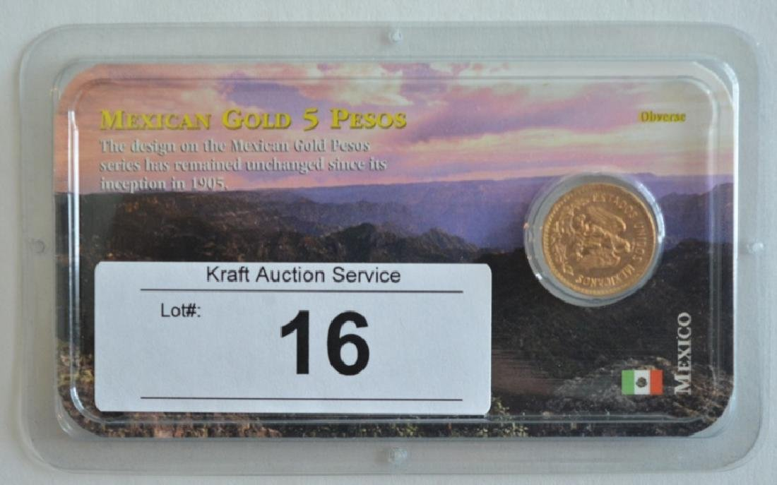 1955 Mexican Gold 5 Pesos Coin