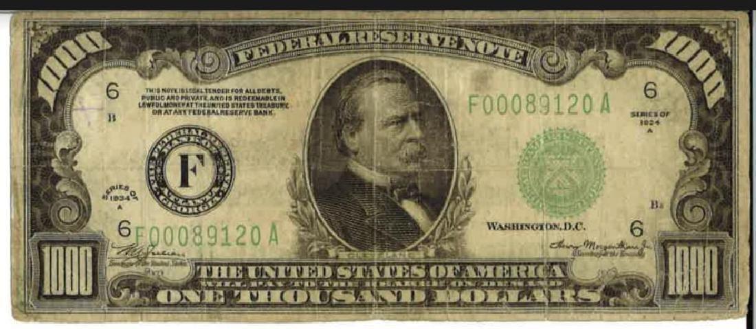1934-A $1000 Bill Federal Reserve Note