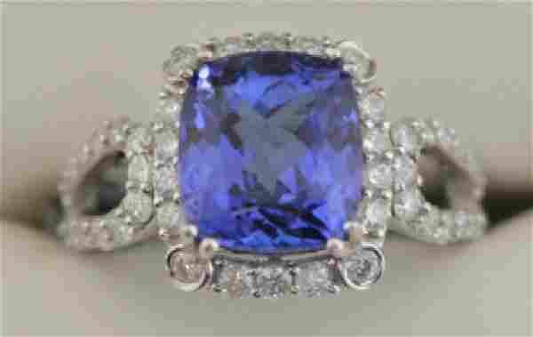 Ladies 14K White Gold Tanzanite & Diamond Ring