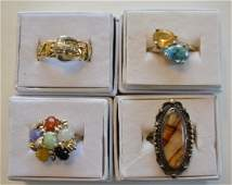 Four Ladies Sterling Silver & Stone Rings