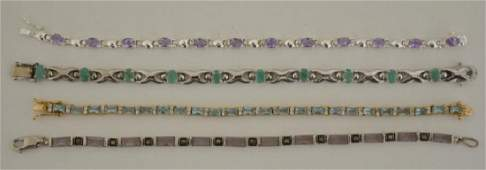 Four Sterling Silver Colored Stone Bracelets