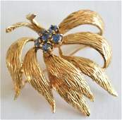 14K Yellow Gold & Sapphire Flower Pin