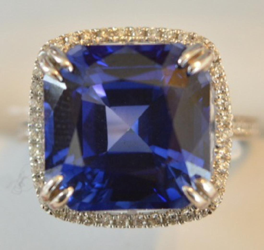 12.62cttw Sapphire and Diamond 14K Gold Ring